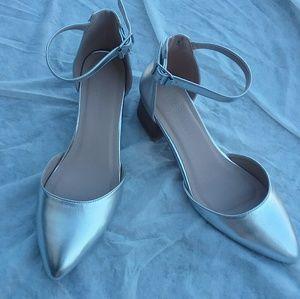 ASOS Metallic Ankle Strap Block Heel